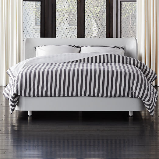 Bowed White Lacquered Bed