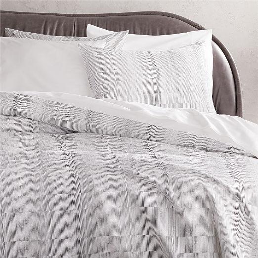 Karson Organic Cotton Sateen White/Black Stripe Duvet Cover