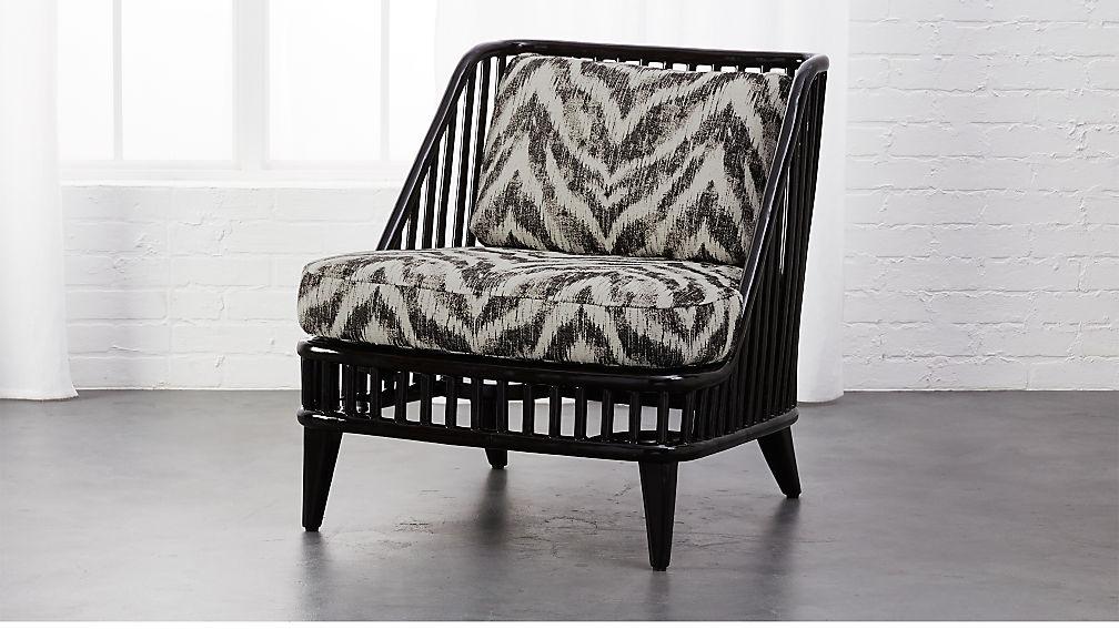 kaya black rattan chair with zebra print cushions reviews cb2