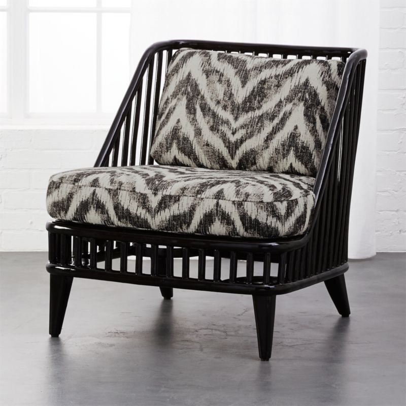 Kaya Black Rattan Chair With Zebra Print Cushions