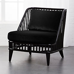 Kaya Black Rattan Chair With Velvet Cushions