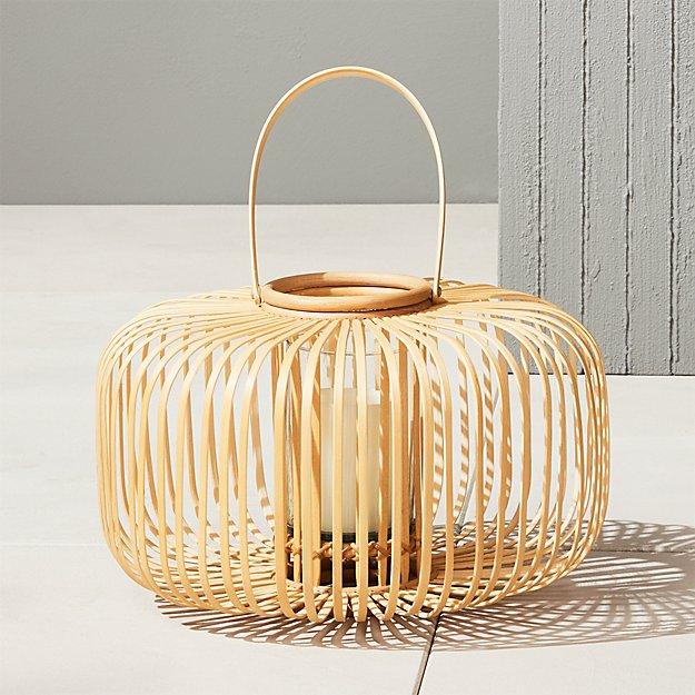 Kini Rattan Bamboo Lantern + Reviews | CB2