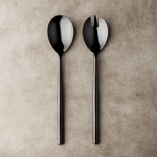 Rush Shiny Black Slotted Serving Spoon