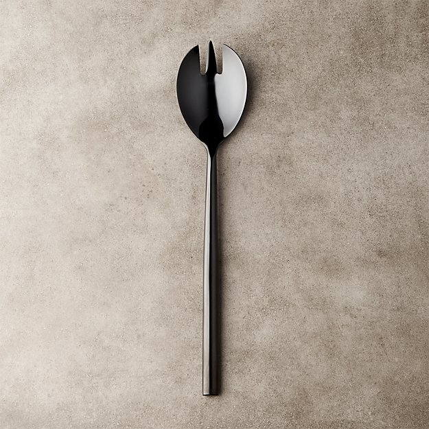 Rush Shiny Black Slotted Serving Spoon - Image 1 of 7