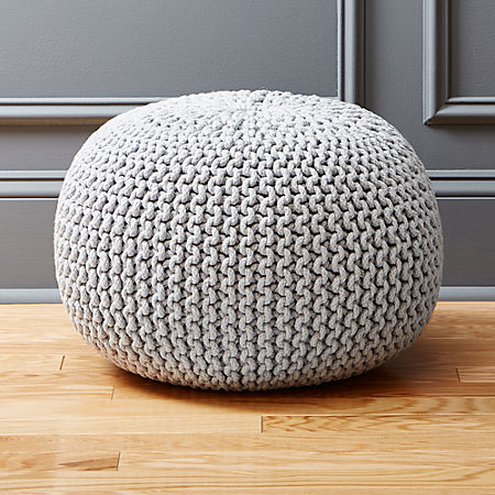 Terrific Knitted Silver Grey Pouf Forskolin Free Trial Chair Design Images Forskolin Free Trialorg