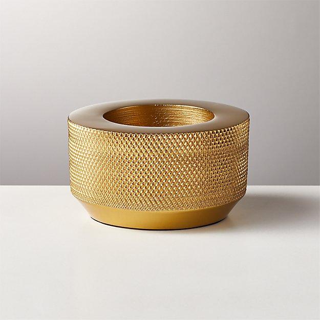 Knurled Gold Tea Light Candle Holder - Image 1 of 7
