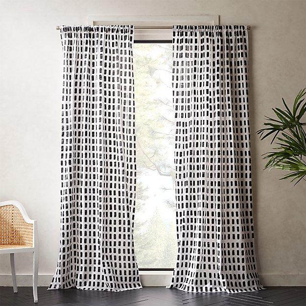 Korben Plaid Curtain Panel Cb2