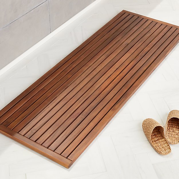 "Lateral Teak Natural Bath Runner 21.75""x60"" - Image 1 of 3"