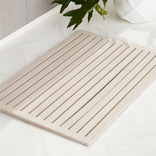 "Lateral Teak White Wash Bath Mat 21.75""x32"" - Image 1 of 3"