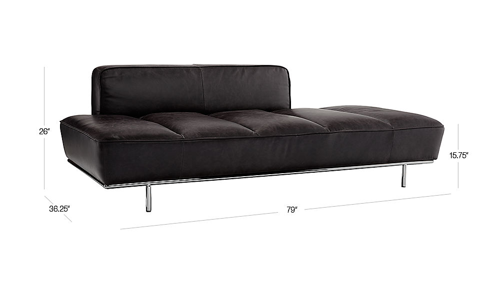 Lawndale Black Leather Daybed With Chrome Base Reviews Cb2