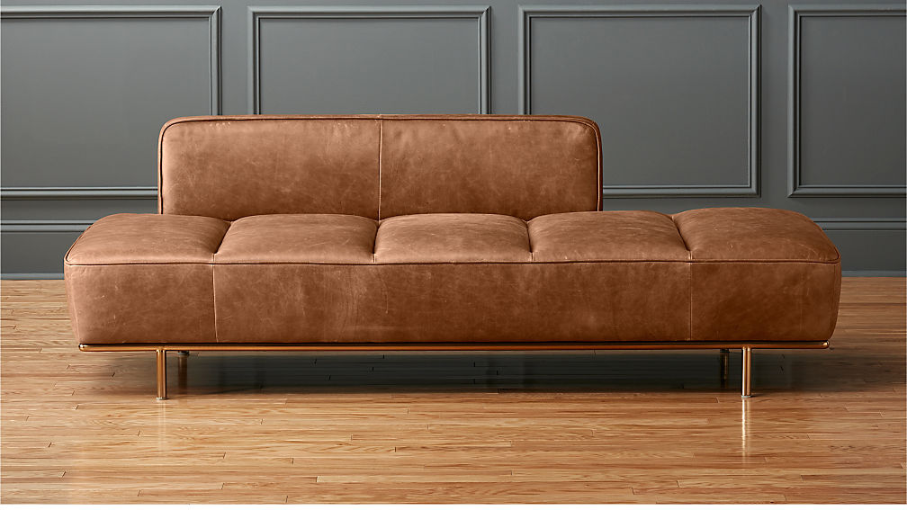 Lawndale Saddle Leather Daybed With Brass Base Reviews Cb2