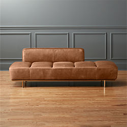 Attrayant Lawndale Saddle Leather Daybed With Brass Base