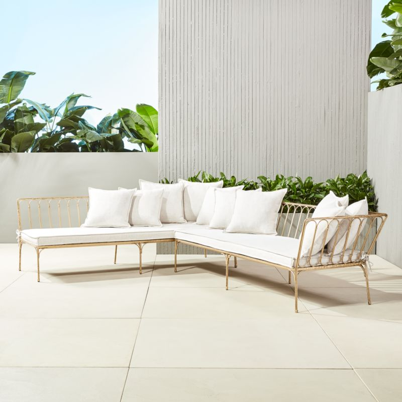 le rêve right arm sectional with ten pillows - Modern Outdoor Sectionals CB2