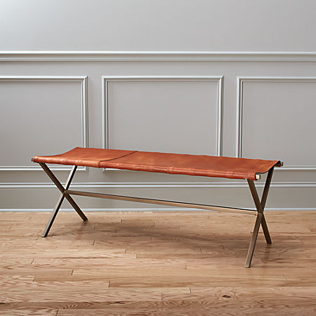 Leather Entryway Bench Cb2