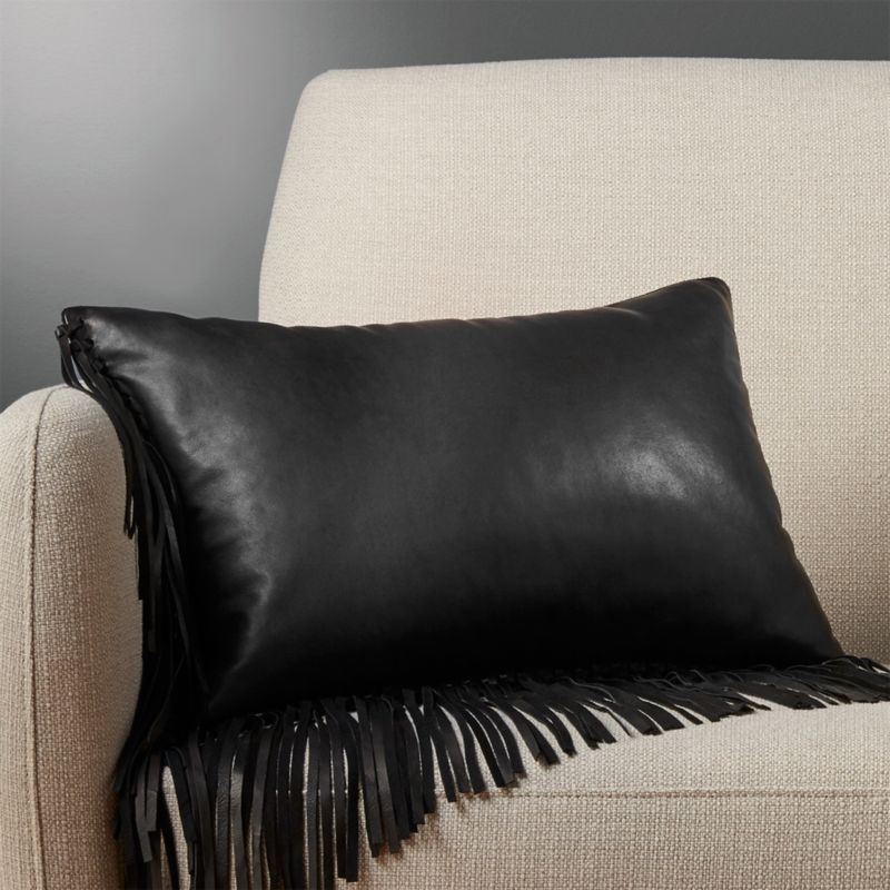 18 X12 Leather Fringe Black Pillow With Feather Down Insert Reviews Cb2