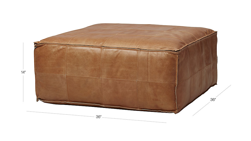 Leather Ottoman Pouf Reviews Cb2
