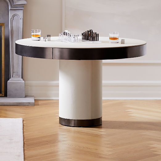 Maude Leather Pedestal Game Table