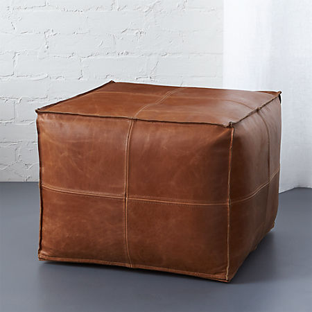 Awe Inspiring Leather Pouf Caraccident5 Cool Chair Designs And Ideas Caraccident5Info