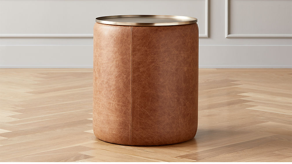 Stitch Leather Round Storage Side Table - Image 1 of 8
