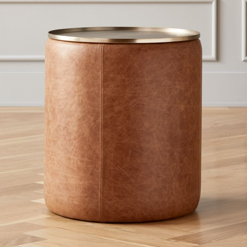 Side Table With Storage.Stitch Leather Round Storage Side Table