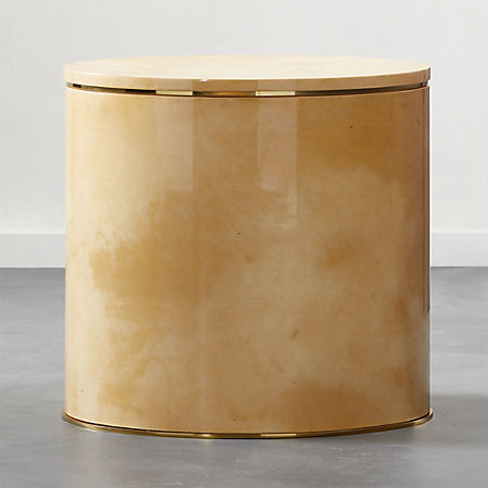 Side Table With Storage.Lee Hi Gloss Vellum Storage Side Table Cb2