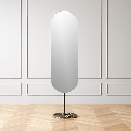 Legato Marble Oval Floor Mirror