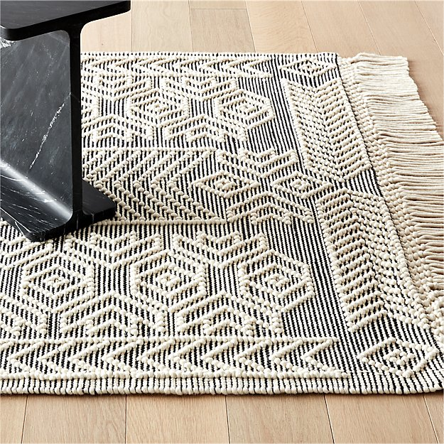 Legend Black and White Pattern Rug - Image 1 of 7