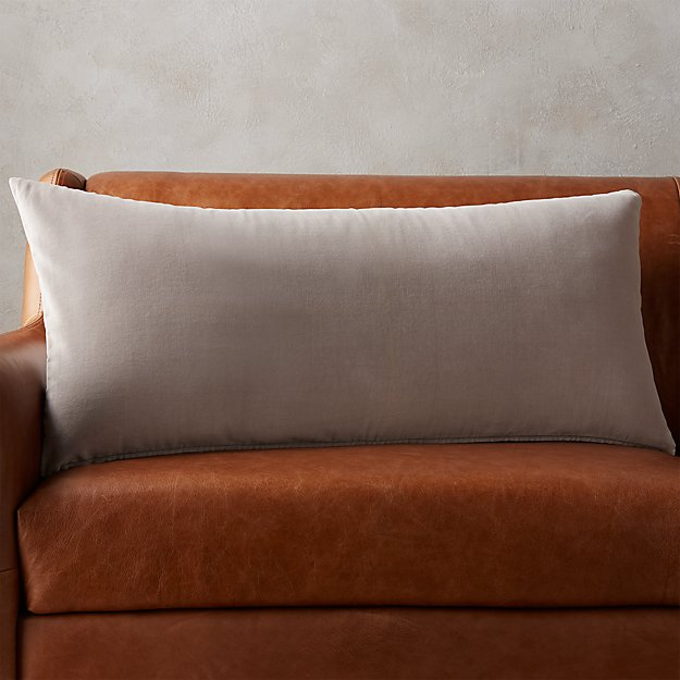 "36""x16"" Leisure Silver Grey Pillow - Image 1 of 5"