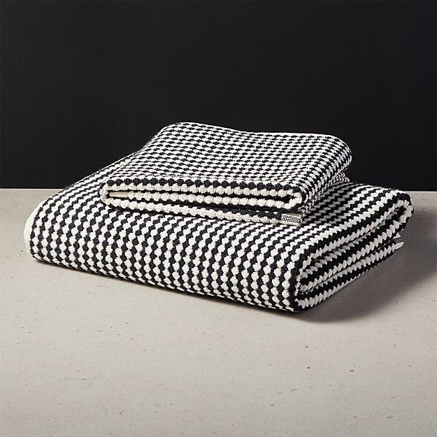Lena Black and White Bath Towels - Image 1 of 9