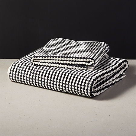 Lena Black and White Bath Towels | CB2