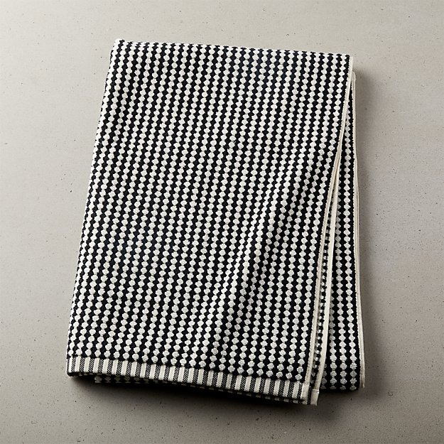 Lena Black and White Bath Towel - Image 1 of 10
