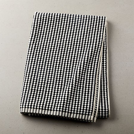 Lena Black and White Bath Towel + Reviews | CB2