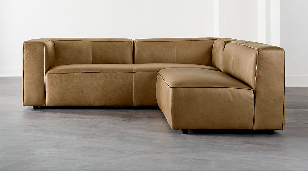 Lenyx Saddle 2-Piece Leather Sectional - Image 1 of 4