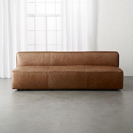 Lenyx Cognac Armless Leather Sofa Cb2