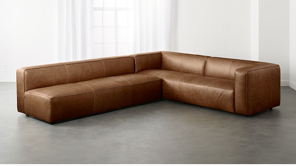 Lenyx Cognac 2-Piece Leather Sectional