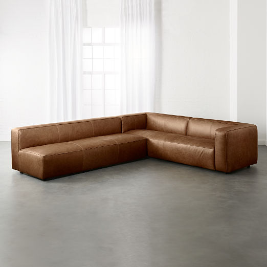 Lenyx Cognac 2 Piece Leather Sectional