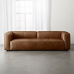 Modern leather couch Large Lenyx Cognac Extra Large Leather Sofa Cb2 Modern Sofas Couches And Loveseats Cb2