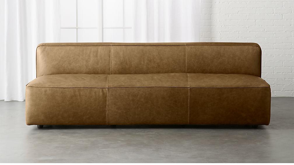 Lenyx Bello Saddle Leather Armless Sofa + Reviews | CB2