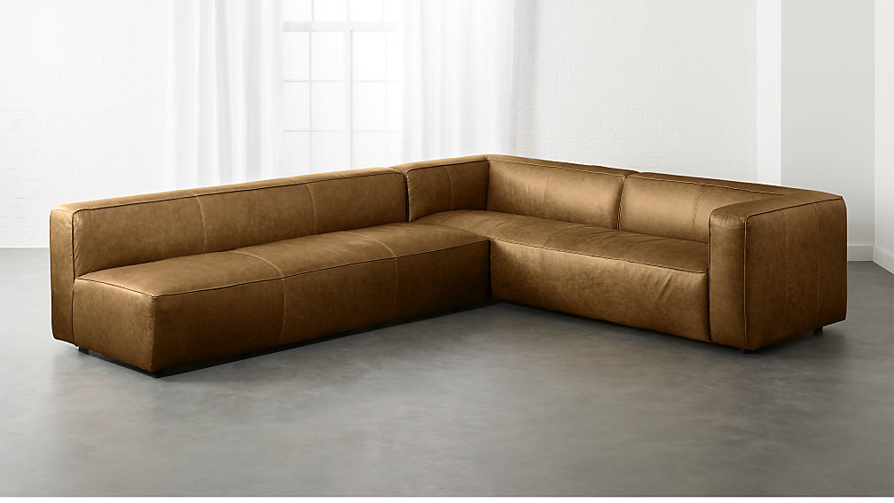 Tremendous Lenyx Bello Saddle Leather 2 Piece Sectional Alphanode Cool Chair Designs And Ideas Alphanodeonline