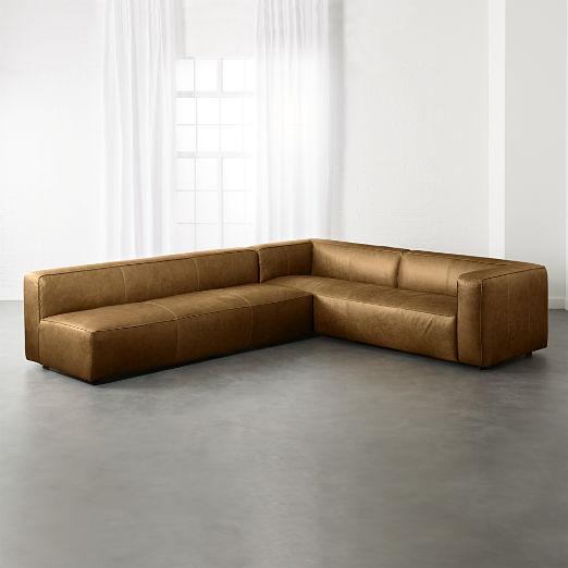 Lenyx Saddle 2-Piece Leather Extra Large Sectional