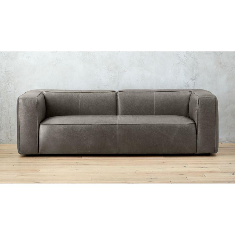 Lenyx Grey Leather Sofa Reviews CB2
