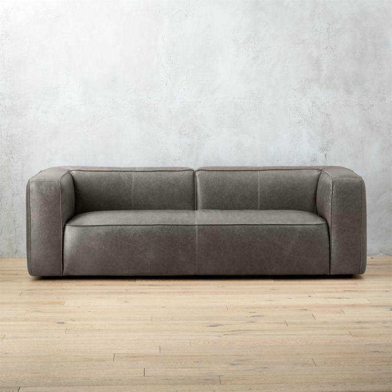 Great Lenyx Grey Leather Sofa