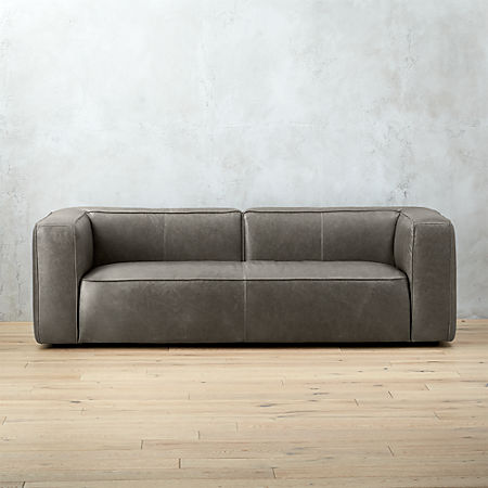 Lenyx Grey Leather Sofa Reviews Cb2