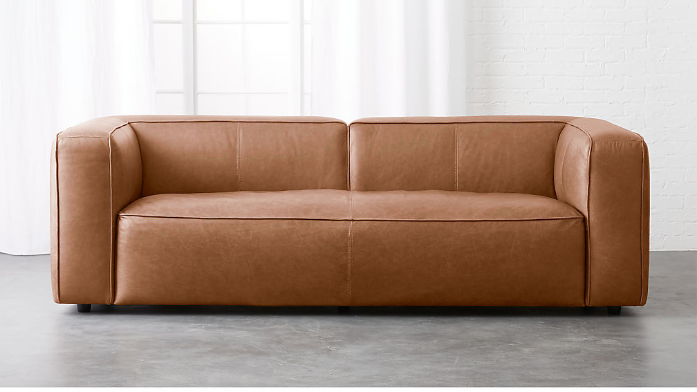 Lenyx Overstuffed Leather Sofa + Reviews