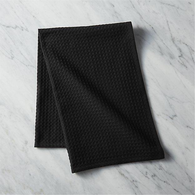 Waffle Weave Black Dish Towel Reviews Cb2