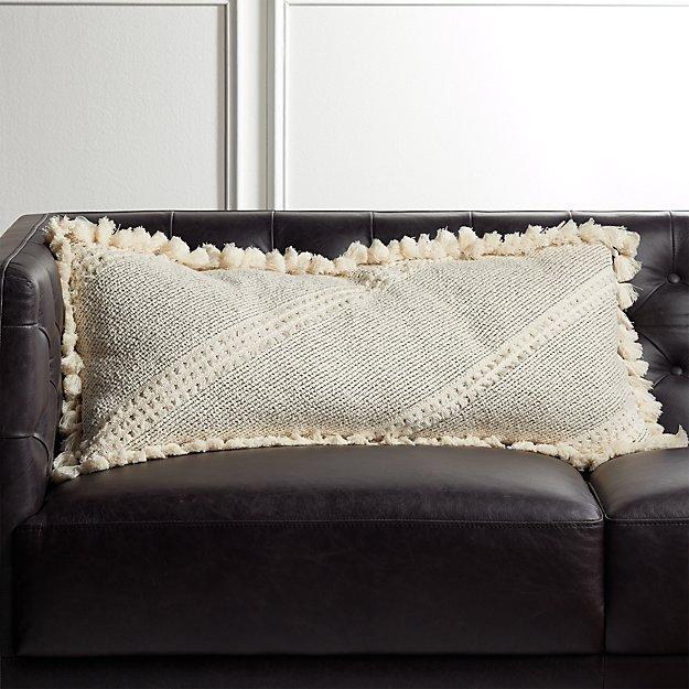 "36""x16"" Liana White Tassel Pillow - Image 1 of 5"