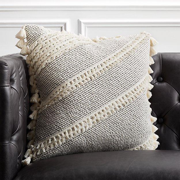 """18"""" Liana White Tassel Pillow - Image 1 of 6"""