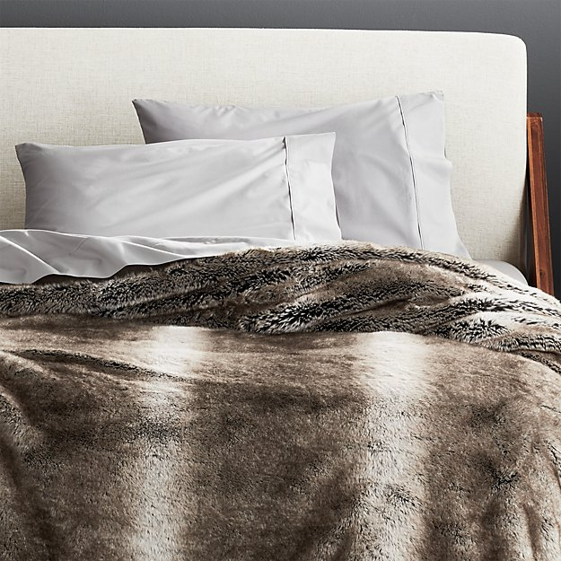 Light Grey Faux Fur Blanket - Image 1 of 4