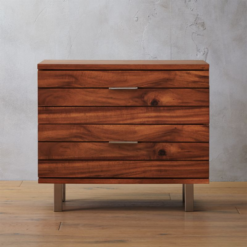 Linear Acacia Nightstand Reviews Cb2