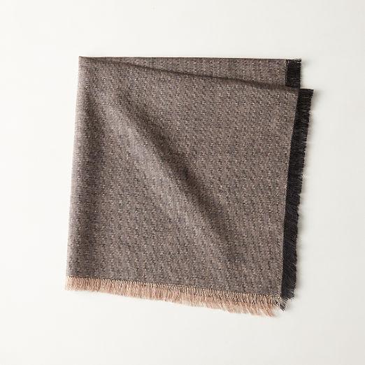 Linen Chambray Black Fringe Napkin